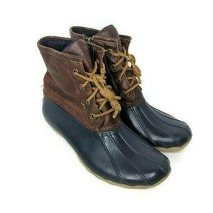 Sperry Saltwater Duck Boots Brown & Blue Leather